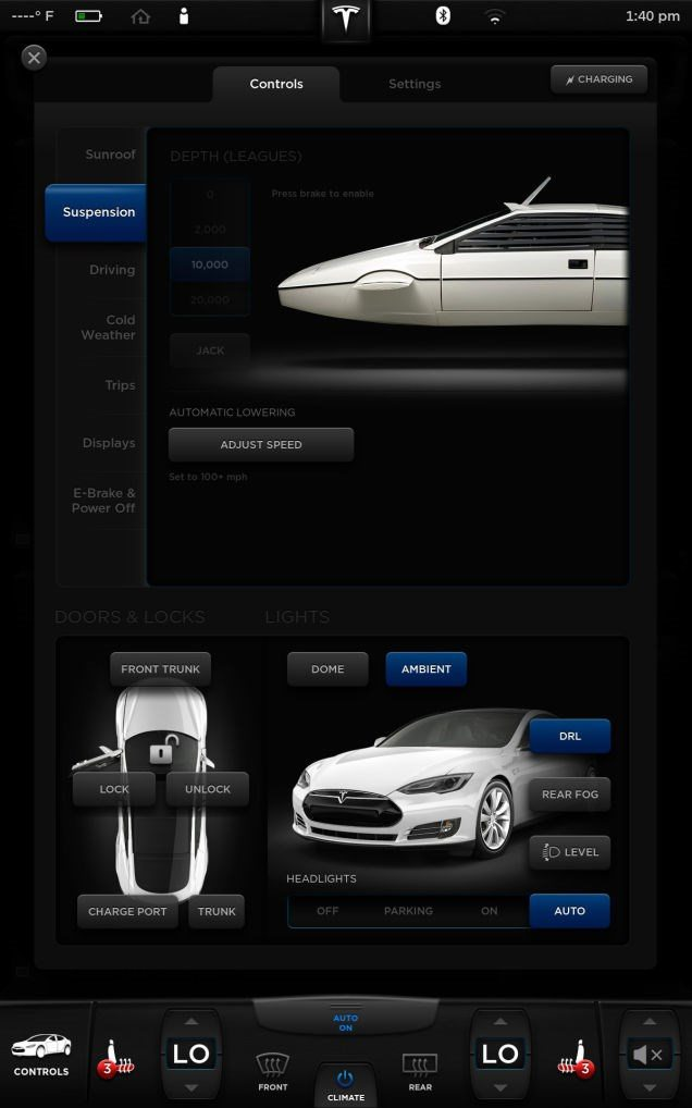 إحدى خيارات القيادة السرية -نوعا ما- في سيارة تسلا موديل S، عند تفعيل الخيار تظهر السيارة الغواصة لوتس إسبري والتي ظهرت في فلم جيمس بوند