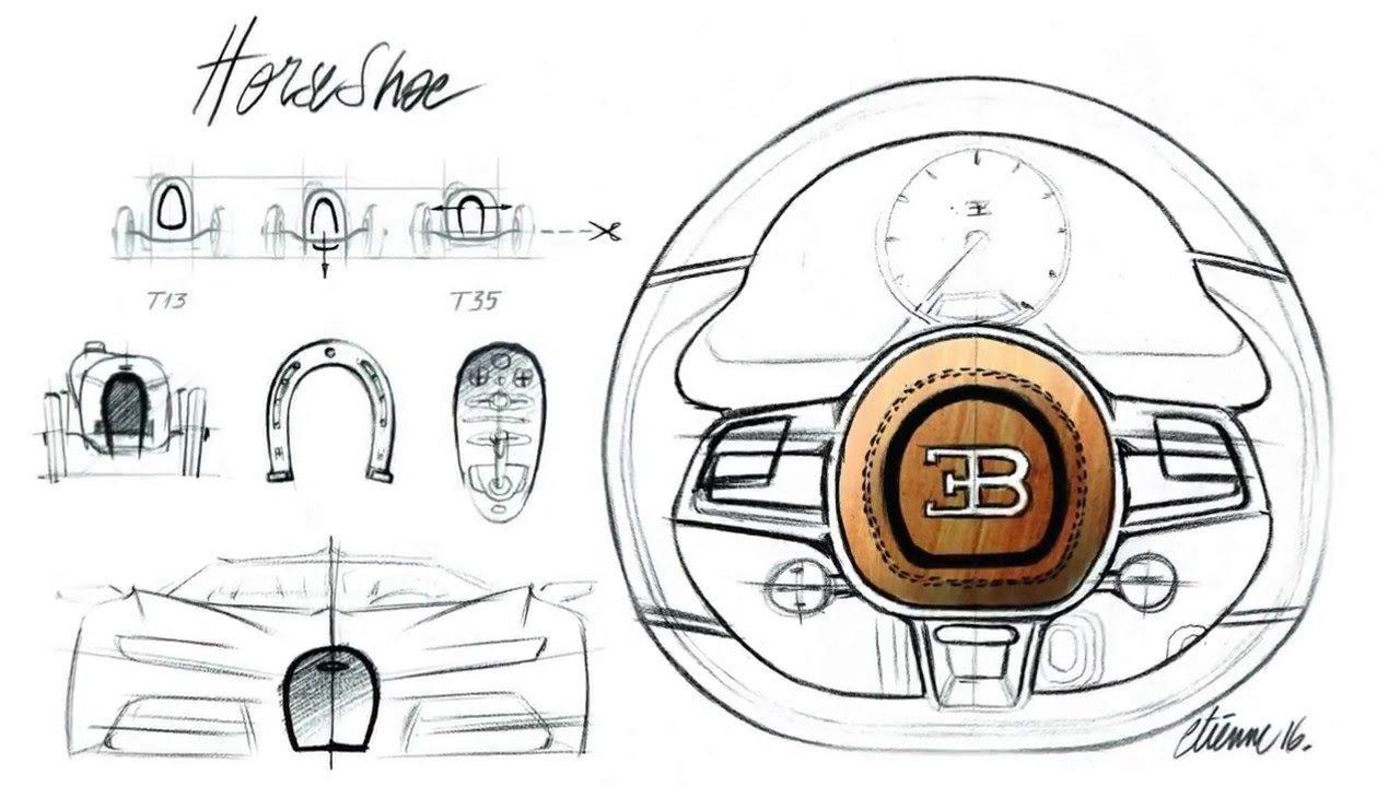 دمج شكل الحدوة في تصميم بيوغاتي شيرون الداخلي والخارجي