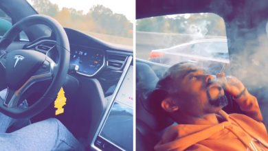 Photo of فيديو: رجل يُدخّن الماريجوانا في تسلا ذاتية القيادة