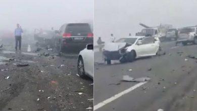 Photo of بالفيديو تصادم 44 سيارة في حادث بأبوظبي بسبب الضباب!